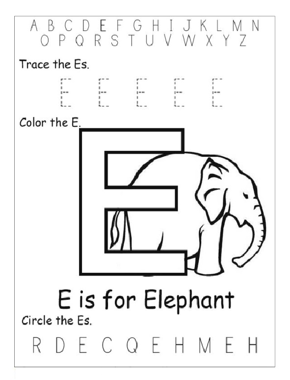 trace letter e color the letter e circle letter e worksheet preschool crafts. Black Bedroom Furniture Sets. Home Design Ideas