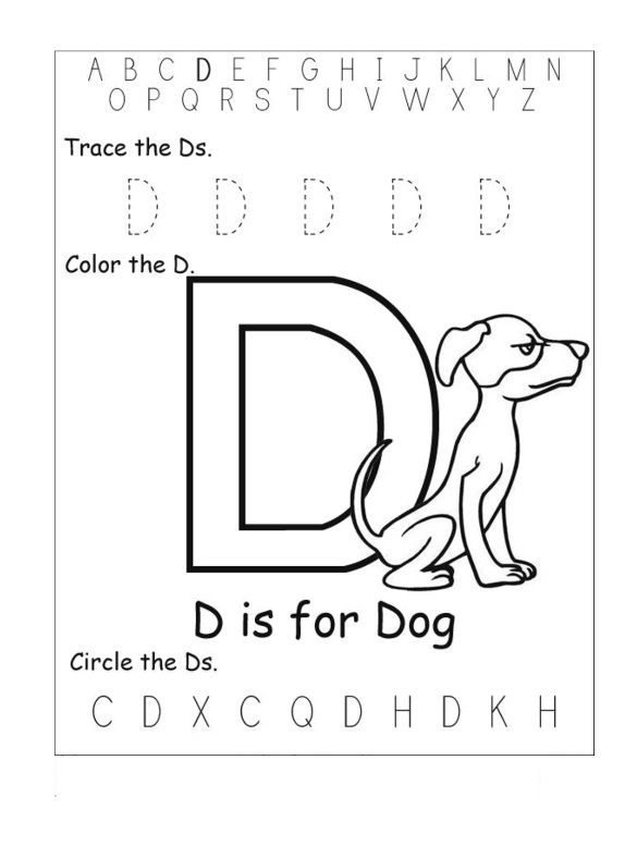 trace the letter d and color the letter d preschool crafts. Black Bedroom Furniture Sets. Home Design Ideas