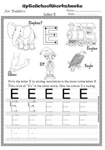 up to school worksheet letter e