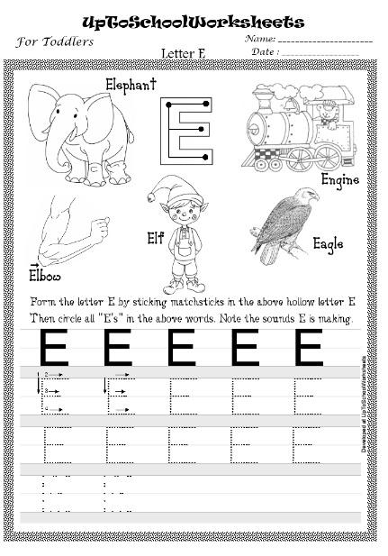 Letter E Worksheets Mattawa