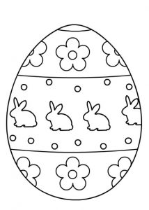 Happy Easter Egg Coloring Pages for Kindergartners