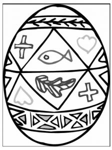 Happy Easter Egg Coloring Pages for Primary School