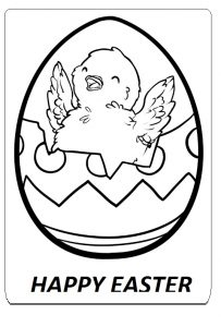 Happy Easter Egg Colouring Pages for Kindergarten