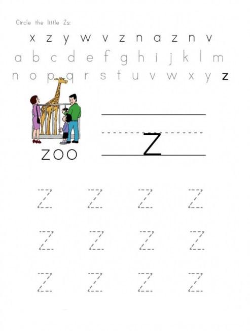 practice tracing line small letter z worksheets for preschooler circle the little z. Black Bedroom Furniture Sets. Home Design Ideas