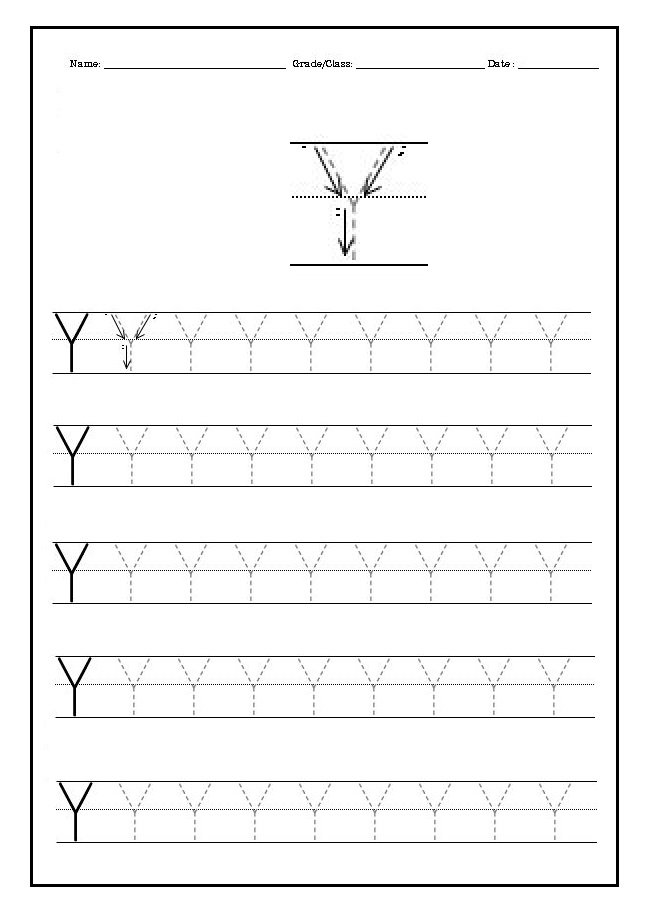Practice writing the uppercase letter Y worksheet for kindergarten – Practice Writing Name Worksheet