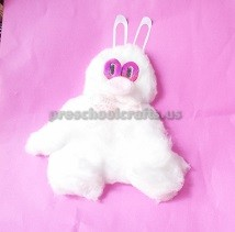 Rabbit crafts from cotton to easter for kids