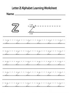 Small letter z alphabet worksheet for preschooler