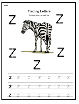 small letter z is for zebra worksheet for kindergarten. Black Bedroom Furniture Sets. Home Design Ideas