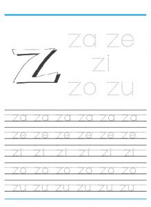 Small letter z worksheet for kindergarten - Practice tracing Line letter z worksheets 1st grade