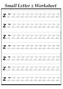 Small z worksheet for kindergarten - Practice tracing Line letter z worksheets for 1st grade