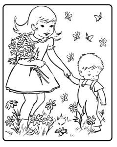 Spring colouring pages for kids free printable