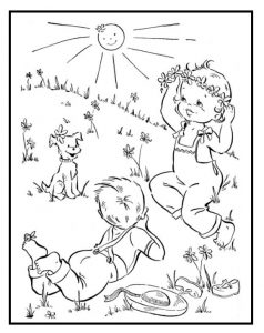 Spring colouring pages for kids - free printable