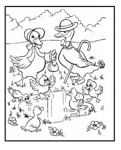 Spring theme duck coloring pages for kids free printable
