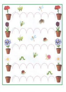 Spring theme trace line worksheet for preschoolers