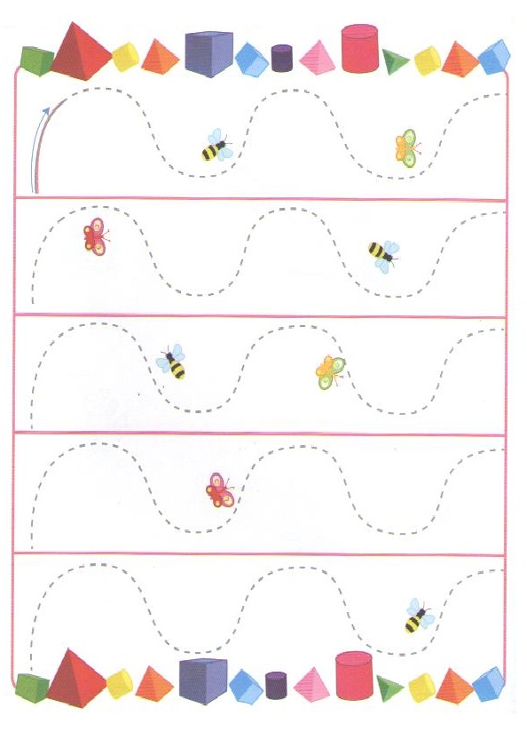 Spring theme tracing line worksheet for preschool Preschool Crafts – Theme Worksheet