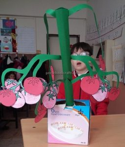 Tomato Tree Craft Ideas for Kindergarten - Spring Fruits Craft Ideas