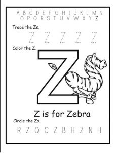 Trace the Uppercase Z - Color the Z is for Zebra - Circle the Z