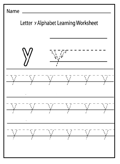 trace the lowercase letter y for 1st grade preschool crafts. Black Bedroom Furniture Sets. Home Design Ideas