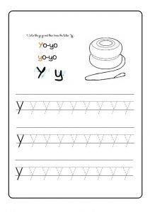 Trace the lowercase letter y for kindergarten