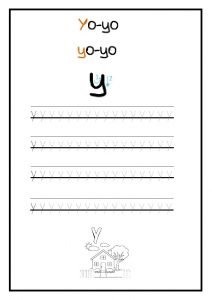 Trace the lowercase letter y for preschool