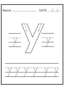 Trace the lowercase letter y worksheet for kindergarten