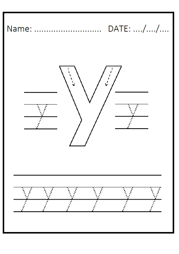 trace the lowercase letter y worksheet for kindergarten preschool crafts. Black Bedroom Furniture Sets. Home Design Ideas