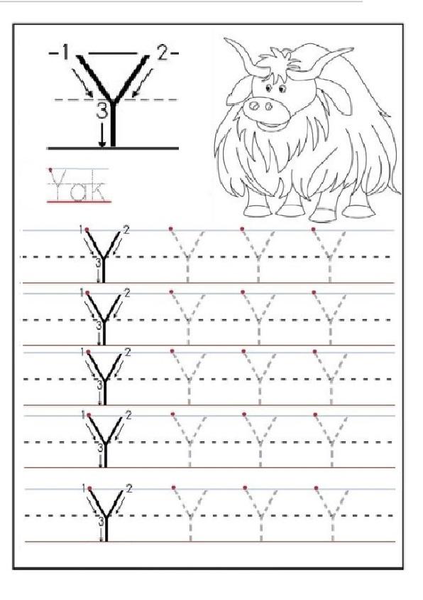 trace the uppercase letter y for 1st grade preschool crafts. Black Bedroom Furniture Sets. Home Design Ideas