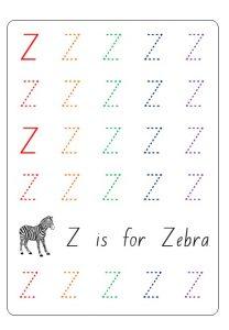 Tracing Uppercase letter z worksheet