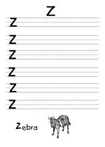 Uppercase Letter Z Worksheet for Preschooler