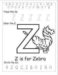 Uppercase Z Worksheet for preschool
