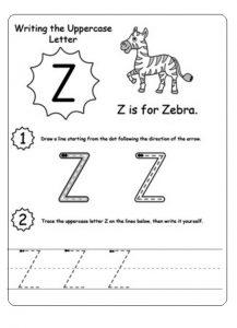 Uppercase letter Z worksheet z is for zebra