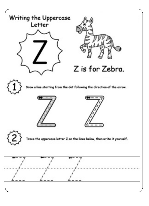uppercase letter z worksheet z is for zebra preschool crafts. Black Bedroom Furniture Sets. Home Design Ideas