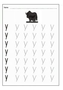 Writing the lowercase letter y for 1st grade