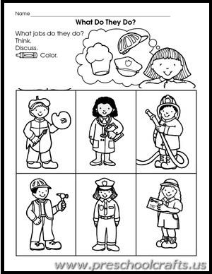Community Workers Worksheets For Kindergarten