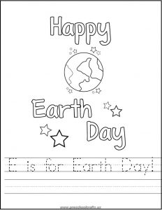 e is for earth day free printable worksheets