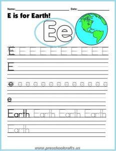 earth day worksheets for letter e teaching