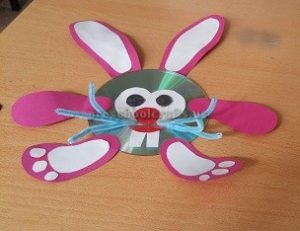 easter bunny cd craft for preschool