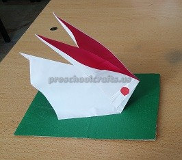 folding paper craft to easter bunny