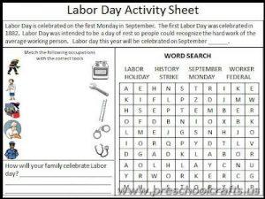 labor day worksheets for kindergarten