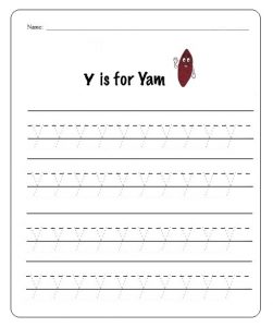 lowercase letter y learning worksheet for firstgrade