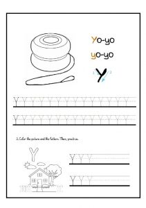lowercase letter y tracing worksheet for kindergartners