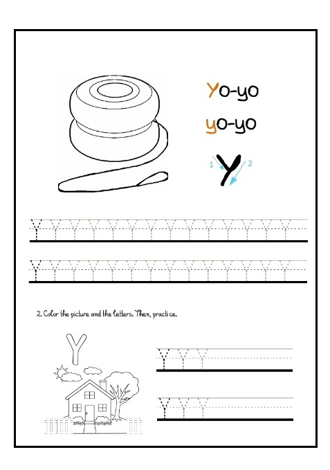 lowercase letter y tracing worksheet for kindergartners preschool crafts. Black Bedroom Furniture Sets. Home Design Ideas