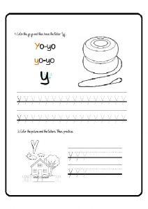 lowercase letter y tracing worksheet for preschoolers