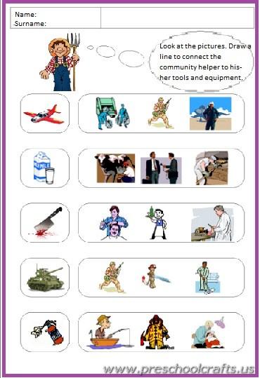 preschool community helpers worksheets  Preschool Crafts