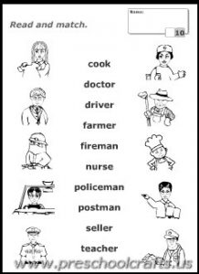 printable occupations communtiy helpers kids worksheets