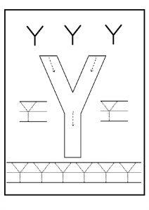 printable uppercase letter Y practice for preschoolers