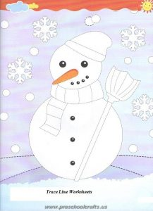 snowman trace line worksheets
