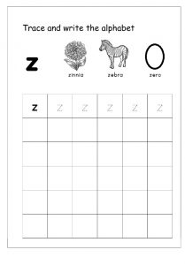 trace and write letter z worksheet