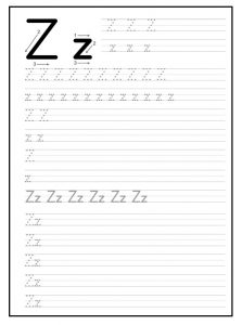 worksheet of small and big letter z