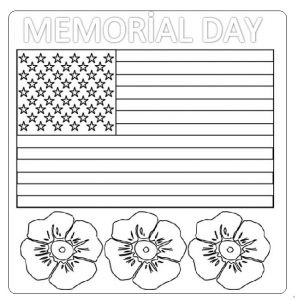 American Memorial Day Flag Coloring Pages for Preschool